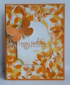 autumn leaves in oranges and yellows...birthday card...