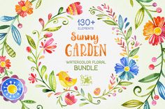 -25% Sunny Garden. Floral Bundle by StarJam on @creativemarket