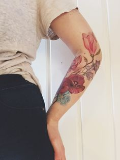 Floral tattoo. Magnolias and poppies✌️