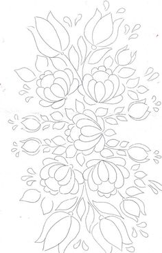 Folk Embroidery Patterns Floral Bunch pattern for painting / embroidery / applique / . Love the flourishing Happy effect of this design ! Hungarian Embroidery, Hand Embroidery Patterns, Ribbon Embroidery, Embroidery Applique, Embroidery Stitches, Machine Embroidery, Embroidery Designs, White Embroidery, Tole Painting