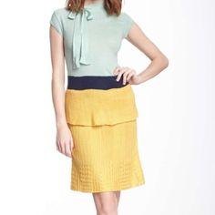 Dress Color block peplum knit dress Dresses
