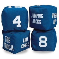 Fitness Dice: make one die with the numbers 2, 4, 6, 8, 10, and 12 and another die with directions for physical activities (jumping jacks, hop on one foot, toe touch, arm circles, push-ups, etc.). Roll the two dice to see the name of an activity and how many times you must do it. Try making dice with other themes, like chores (dry dishes, put away toys).