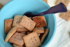 Gluten Free Cinnamon Toast Crunch Copycat Cereal. Not dairy free. I wonder if I cut them in longer strips or bigger squares I can make them more cracker-like than cereal?
