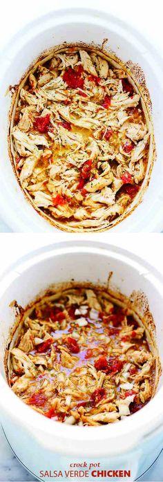 EASY CROCK POT SALSA VERDE CHICKEN - chicken, cumin, healthy, recipes, tomato