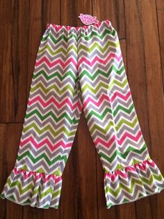 Lolly Wolly Doodle Ruffle Pants Canvas Chevron Girls Kids Size 6 Easter Spring | eBay