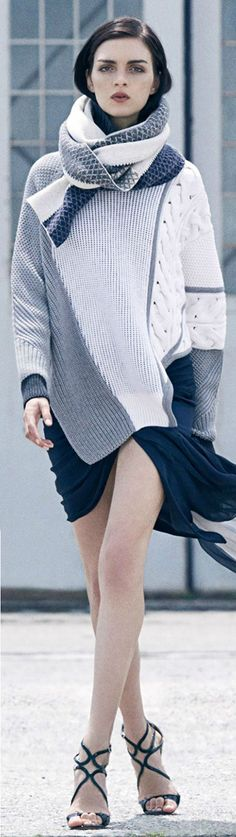 The gray, cream combination make this sweater so versatile.   Prabal Gurung ● Mixed Intarsia Sweater
