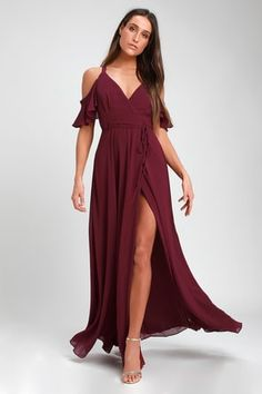 Glide across the dance floor in the Lulus Easy Listening Burgundy Off-the-Shoulder Wrap Maxi Dress! Georgette wrap maxi dress with off-the-shoulder sleeves. Maxi Wrap Dress, Maxi Dress With Sleeves, Lace Dress, Short Beach Dresses, Sexy Dresses, Casual Dresses, Prom Dresses, Burgundy Maxi Dress, Dresses To Wear To A Wedding