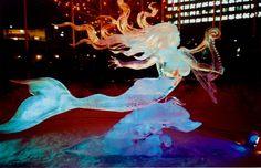 mermaid ice sculpture in Ottawa Canada