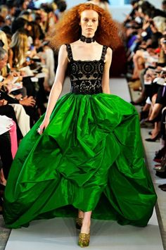 Oscar de la Renta's Spring 2012 RTW collection. Bright green ballroom skirt. #acid