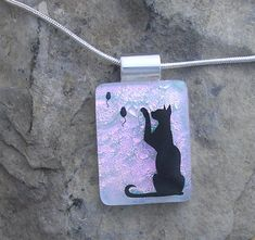 Cat Necklace Fused Dichroic Glass Pendant Cat Jewelry