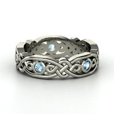 Brilliant Alhambra Band, Sterling Silver Ring with Blue Topaz from Gemvara