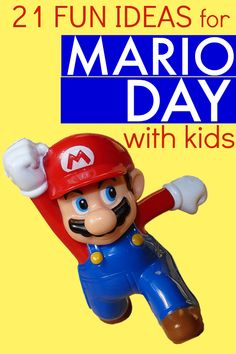 character day spirit week Did you know there is a Mario Day? (Yes, that Mario from Nintendo video games!) Learn how to host a fun Mario Day for kids with these 21 games, lesson Mario Games For Kids, Mario Party Games, Super Mario Games, Super Mario Party, Kids Party Games, Super Mario Bros, Fun Video Games, Video Game Party, Super Mario Birthday
