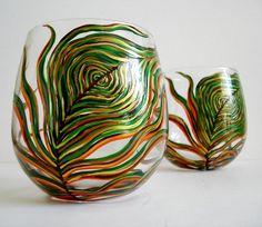 Harvest Peacock Stemless Wine GlassesSet of 2 by MaryElizabethArts, $60.00