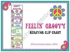 Feelin� Groovy Behavior Clip Chart from overthemoonbow on TeachersNotebook.com -  (12 pages)  - This groovy, retro themed behavior chart fits in well with the �green�yellow�red� behavior system used in many schools, yet provides positive recognition for students who go above & beyond. Perfect for your themed classroom.