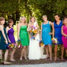 Inspiration for Nonmatching & Bright Bridesmaids Dresses. Mismatched dress, just the shoes, or just the accents. Always awesome.