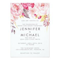 Pink Peony Watercolor Floral Wedding Invitation