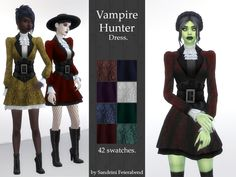 Crop Top Dress, Dress With Bow, Hunter Costume, Witchy Dress, Vampire Dress, Vampire Hunter, Hunter Outfit, Glam And Glitter, Sims 4 Clothing