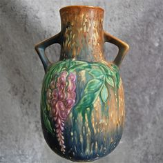 "Roseville Pottery Wisteria Vase #638-9"", Blue, Circa 1933"