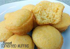 Six Sisters' Stuff: Sweet Cornbread Cake Muffins Recipe - Uses Jiffy Cornbread and Yellow Cake mix. I love some sweet corn muffins! Sweet Cornbread Muffins, Cornbread Cake, Jiffy Cornbread, Cornbread Recipes, Corn Muffins, Simple Muffin Recipe, Tasty, Yummy Food, Yummy Treats