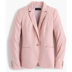 J.Crew Campbell Blazer ($330) ❤ liked on Polyvore featuring outerwear, jackets, blazers, cropped blazer, blazer jacket, one button jacket, fitted blazer and draped blazer