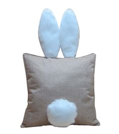 Easter Burlap Pillow with Bunny Ears,