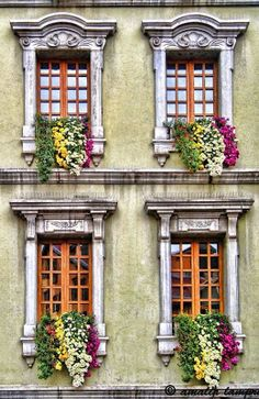 Annecy, Haute-Savoie, France ~ flowered window boxes in this charming town on a beautiful lake in the French Alps Garden Windows, Windows And Doors, Beautiful Buildings, Beautiful Places, Window View, Through The Window, Window Boxes, Window Planters, Flower Planters