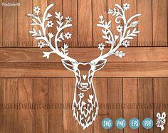Cerf SVG / PDF Papercut modèle Tête de cerf bois de cerf