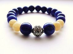 Royal Blue Stretch Bracelet Yellow Bali Sterling by JRockJewelry, $30.00