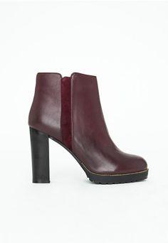 Penelope Block Heel Chelsea Boots Burgundy <3 <3