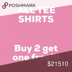 Only includes the items in description Buy 2 get one free tee shirts!!  Includes: Burgundy Tee Lion king tee  Roller derby tees Chevron tee Elephant tee Grey and pink stripes tee Red and white stripes tee Music tee Crossed v neck tee Anchor tee Funny tee Aeropostale tee Nike tee Tops Tees - Short Sleeve