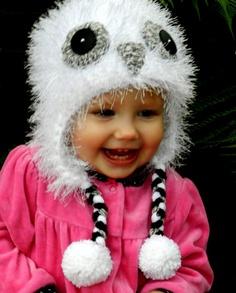 Owl Hat Winter White Crocheted by breathofanangel on Etsy, $15.00