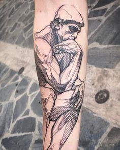 Enjoyable The Thinker Tattoos 2019 Head Tattoos, Sleeve Tattoos, Cool Tattoos, Sketch Style Tattoos, Tattoo Sketches, Auguste Rodin, Future Tattoos, Tattoos For Guys, Montain Tattoo
