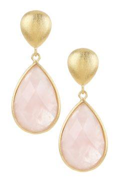 18K Gold Clad Teardrop Faceted Rose Quartz Dangle Teardrop Post Earrings