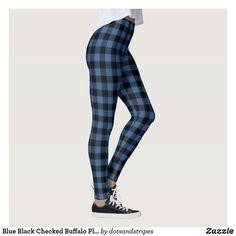 Blue Black Checked Buffalo Plaid Pattern Leggings