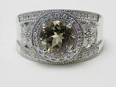RARE 2 Ct Round Zultanite & .75 Ct Diamond Wide Band  Ring NWT 14k WG