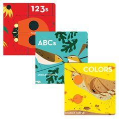 Charley Harper Board Book 3 Pack - includes adorable board books that will help your child to grasp colors, letters, and numbers. While Charley Harper Colors helps youngsters identify hues through Harper's vivid illustrations, Charley Harper ABCs is a bright, bold book perfect for reading to babies and pre-schoolers, and Charley Harper 123s—a companion to his ABCs book—prese