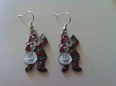 CHRISTMAS SANTA EARRINGS WITH STERLING SILVER HOOKS- BRAND NEW