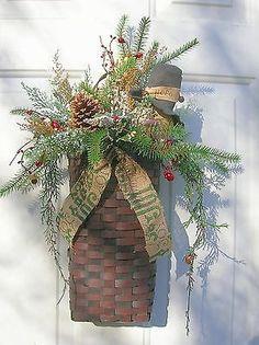 Christmas, Holiday, Winter Door Basket, Snowman Floral door arrangement, Wreaths