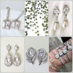 Modern, sparkly, feminine bridal earrings & bracelet designs.