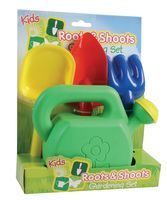 Kids under your feet? - Let them feel like their helping with this Childrens Garden Set; Includes hand trowel, hand fork, hand rake and watering can.