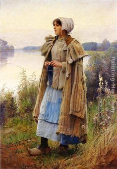 Charles Sprague Pearce Knitting in the Fields painting, oil on canvas & frame; Charles Sprague Pearce Knitting in the Fields is shipped worldwide, 60 days money back guarantee. Art And Illustration, Art Ancien, Knit Art, Web Gallery, American Artists, Beautiful Paintings, Oeuvre D'art, A4 Poster, Female Art