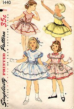 Simplicity 1440 Girls One Piece Dress and Pinafore Pattern, Vintage Wedding, Flower Girl, 1940s