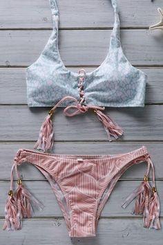 Flower Print Lace Up Bathing Suit