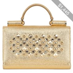 DOLCE & GABBANA Studded Laminated Leather Phone Clutch