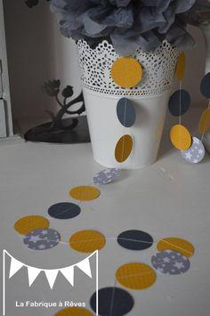 Guirlande pastilles rondes gris jaune étoiles - décoration chambre enfant bébé - décoration mariage - décoration baptême - accessoires