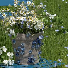 Coudre un cache-pot en lin fleuri