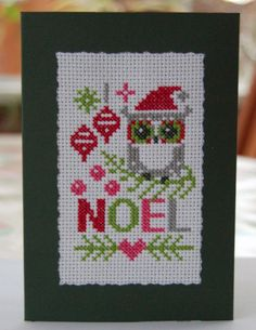 Completed cross-stitch Christmas Owl Card in Crafts, Cross Stitch, Completed Cross Stitch   eBay