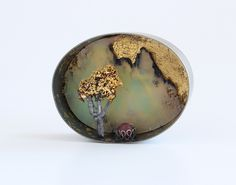 Nikolai Balabin: Fruit Bearing Tree, brooch, 2012, silver, rubin, chrysoprase, leaf gold, 48 mm