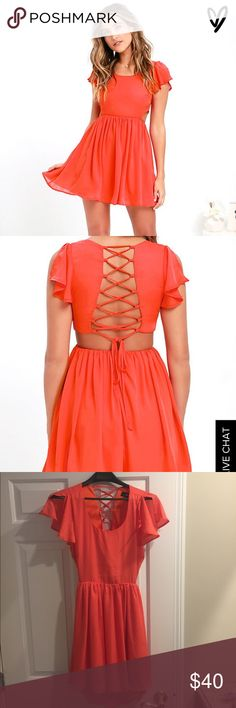 Lulus summer dress Pretty coral/orange lace up back dress from LuLus. Size M. Never worn NWT. Perfect for the summer. Lulu's Dresses Backless