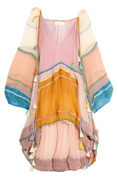 Satisfy your gypsy dress desires just in time for festival season   Chloé Tassled Silk-Crepon Mini Dress